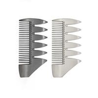 لحية معدن الفولاذ المقاوم للصدأ مشط جولة رئيس على نطاق واسع الأسنان النفط رئيس مشط متعددة الوظائف اللحية مشط