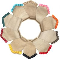 Burlap Garden Flags party DIY ruffly Pure color cotton linen...