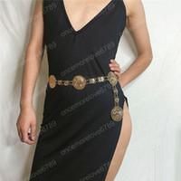 파티 웨딩 멋진 선물 여성 황금 동전 세로 금속 허리 벨트를위한 새로운 패션 여성 체인 벨트