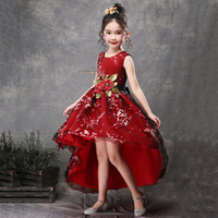 Girl Princess Pengpeng Skirt Piano Performance Dress Tail Fl...