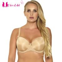BHs Mereide 655 Frauen Schwarz / Beige Plus Größe Bralette Push Up Solide Farbe Unterwäsche Sexy Komfortable 36-46 d / dd / ddd / e / f / g