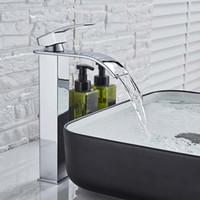 Прямоугольный хромированный кран для раковины бассейна Смеситель для ванной комнаты с одной ручкой Широкий носик Раковина Fauet кран горячей и холодной воды