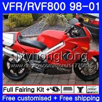 Lichaam voor Honda Interceptor Glanzende rode top VFR800R VFR800RR 98 99 00 01 259HM.13 VFR800 VFR 800RR VFR 800 rr 1998 1999 2000 2001 Fairing Kit