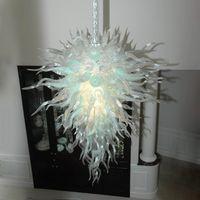 Modernes Cristal Blanc Crystal Landeliers Lampes Maison Décoration Salon d'éclairage d'intérieur Landelier de lustre en verre soufflé