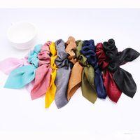 CN Hair Accessories Chiffon Bow-knot Ribbon Scrunchie For Girls Elastic Riband Intestine Hair Ties Satin Hair Bands For Women