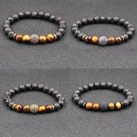 4 stili Natural Black bracciali in ottone Lava Stone Beads braccialetto elastico della tigre braccialetto della pietra dell'occhio Roccia vulcanica in rilievo a mano Strings