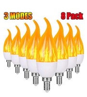 E12 Bombilla de llama LED Candelabra Light Bulbs, 1.2 vatios White White LED Chandelier Bulbs, bombillas de luz de vela de Modo 1800k 3, punta de llama (10pack)