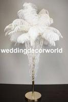 Novo estilo banhado a Ouro cor de altura do casamento decoração de flores decoração de penas de avestruz centerpieces cristal suporte floral de metal peça central
