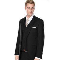 New Design Two Buttons Black Wedding Groom Tuxedos Notch Lapel Groomsmen Mens Dinner Blazer Suits (Jacket+Pants+Vest+Tie) 469