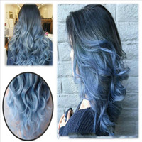 26 Inch Fashion Ombre Blue Wigs Long Natural Body Wave Heat ...