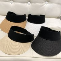Woman Solid Straw Visor Cap Fashion Lady Sunscreen Hats Caus...