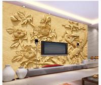 foto de papel de seda mural de la pared de encargo del papel pintado 3D peonía Alto grado de dormitorio en relieve pegatina salón de TV mural de la pared de fondo