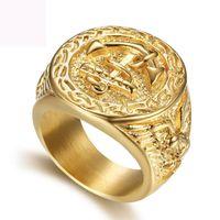 Лодка якорь палец кольцо ювелирные изделия титана стали рис кольца модные ювелирные изделия цвета золота темно-синий кольцо для мужчин бесплатная доставка