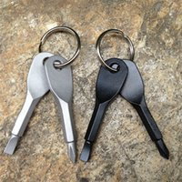 2pcs / набор отверток брелок Открытый карманный мини отвертка брелок с прорезями Phillips Hand Key Подвески