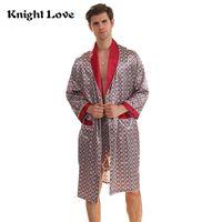 Yeni Bornoz Erkek Baskı Artı boyutu Robe ile Şort 2 Adet İpek Saten Pijama Kimono Ev Banyo Elbise Yaz Erkek Takım Gecelik
