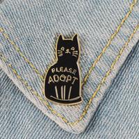 أسود المينا القط دبابيس دبابيس زر للملابس حقيبة الرجاء اعتماد شارة الكرتون مجوهرات مجوهرات هدية للأصدقاء