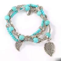 retro de múltiples capas de la turquesa con cuentas pulseras hojas huecos pendientes de flores hebras mujeres pulsera chica cuentas hechas a mano de la joyería