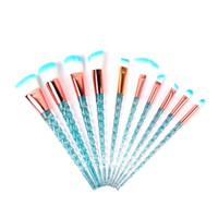 10 stücke Einhorn Make-Up Pinsel Set Kristall Spirale Griff Foundation Blending Pulver Falten Kosmetik Werkzeuge Brocha De Maquillaje