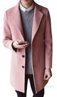 fashion-Mens casuali Wollen cappotto monopetto lungo Pea Coat trincea cappotto invernale Casual Jacket Mens Cashmere