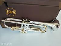 Bach TR-197GS Trombeta de prata Original banhado a ouro CHAVE Professional New Trumpet sino Top instrumentos musicais de bronze