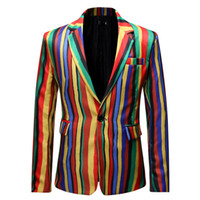 Herren Blazer Color Stripe Herren Blazer Party Print West Slim Jacke No Hat Revers Sportjacke Großhandel