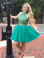 Короткие двух частей платья возвращения на родину линия бисера Пром платья дешевые выпускные платья юниоры GD7791