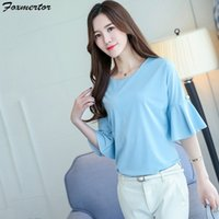 2019 Women' s blouse Casual Chiffon Shirt Solid office T...