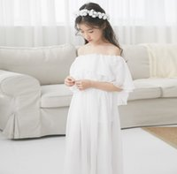 Summer kids lace tulle long dress Big girls double falbala d...