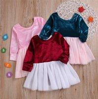 Bebek Giysileri Grils Pleuche Tutu Elbiseler Çocuklar Yaz Örgü Prenses Elbise Moda Uzun Kollu Kabarcık Etek Parti Dans Elbise AYP475
