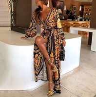 Style Fashion Elegant Women Dress Dress Boat Glitter Deep V Neck Print Party Formal Long Sexy Clubwear Sexy
