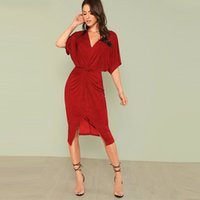 V Red Neck Twist Front Half Sleeve Split Sexy Bodycon Dress ...