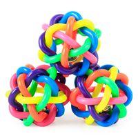 الكلب جرو القط الحيوانات الأليفة جرس مضغ اللعب الصوت الكرة rainbow الملونة المطاط مضحك لعب لعبة 6.5 سنتيمتر التدريب pet المنتجات