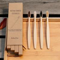 cepillo de dientes naturales conjunto de bambú paquete reutilizable de 4 con estuche de viaje barato con la caja de embalaje biodegradables
