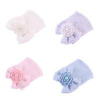 الوليد الشيفون القوس الطفل قبعة الصلبة الوردي الأزرق اللون لينة مستشفى بنات قبعات الوليد التصوير الدعائم الاكسسوارات الطفل ل 0-6 متر