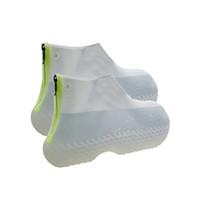 ASDS-1 Par cubiertas del zapato reutilizable de silicona a prueba de agua de lluvia Zapatos Cubiertas con cremallera zapatos Antideslizante