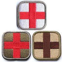 """100 Pièces Medic Cross Patch tactique multi-avec le soutien tan rouge blanc vert décoratifs brodé 2"""" Appliques de haut par 2"""" Wide"""