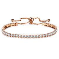 Pulseira De Cristal de zircão de Prata Rosa de Ouro Completo Rhinestone Charme Mão Jóias para a Menina Moda Feminina Elegante Mulheres Pulseiras Pulseira Presente Rosa