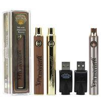 510 Konu Vape Kartuşunda Hediye Kutusu USB Şarj Cihazı ile Brass Knuckles Pil 650mAh 900mAh Gümüş Altın Ahşap Değişken Gerilim Vape Kalem