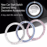 40mm Auto Auto Bling Dekoratives Zubehör Automobile starten Schalterknopf Dekorative Diamant-Rhinestone Ring-Kreis-Trim