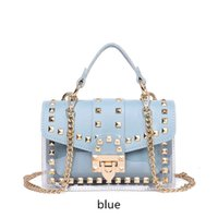 HBP 99 Small clear Brand Designer Woman 2020 New Fashion Messenger Bag Chains Shoulder Bag Female Rivets Transparent Square PU BAG