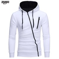 Men Autumn Casual Solid Long Sleeve Hooded Zipper Drawstring...