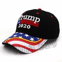 hot 3D-Stickerei Trump Hut 2020 Baseballmütze Donald USA-Flagge Baseballmütze TRUMP Sonne Hut Brief Präsident einstellbar T2C5060
