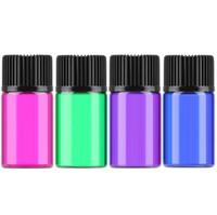 2ml 컬러 유리 에센셜 오일 병 빈 샘플 병 병 유리 병 오리피스 감속 기 검은 뚜껑 LX4241