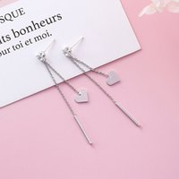 925 Silver Korean- style Fresh Stick Peach Heart Tassels Long...