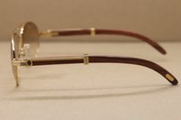 Großhandels-Hot Gold Vollformat Metall 569 Sonnenbrille Männer Designer Marke Holz Sonnenbrille Rahmengröße: 57-16-135mm