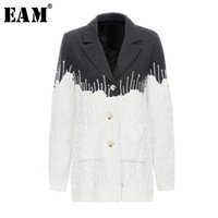 [EAM] Loose Fit Contrast Color Knitting Split Woolen Coat Pa...
