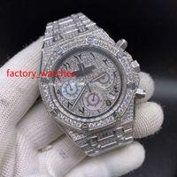 Полный алмазов блестящий кварцевые часы 41 мм bling ледяной серебряный стальной корпус алмазный циферблат VK хронограф полный ледяной часы арабский циферблат