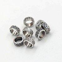 200 pezzi antico argento lega scolpita grande foro da spacer perline per gioielli che fa la collana del braccialetto accessori fai da te 8 * 4mm