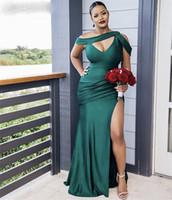 Yeşil Gelinlik Modelleri Afrika Mermaid Sweep Tren Yan Yarık İpek Saten Pileli Düğün Parti Bridemaid Elbiseler Fermuar