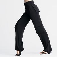 Pantalones latinos de desgaste profesional con bolsillo / hombres negro ancho pierna Pantalones de baile Pantalones de baile Boyra de baile Práctica